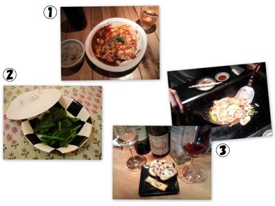 オムライス、小松菜のおひたし、五目焼きそばとシュロップシャー・ブルー